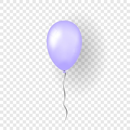 Purple balloon 3D, thread, isolated white transparent background. Color glossy flying baloon, ribbon, birthday celebrate, surprise. Helium ballon gift. Realistic design happy bday. Vector illustration 向量圖像