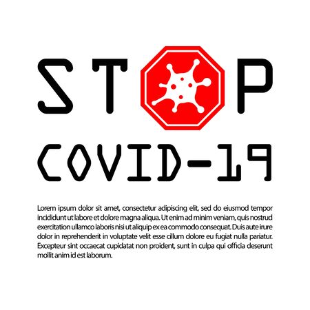 Coronavirus 2019-nCoV infographic. Corona virus 3D icon banner. Black sign isolated white background. Pathogen respiratory infection. Poster bacteria-cell pandemic. Corona-virus Vector illustration Vettoriali