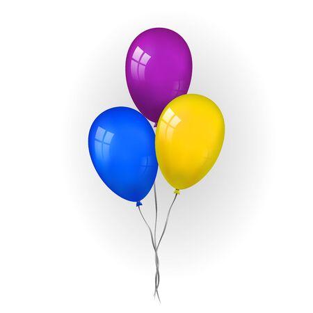 Ensemble de bouquet de ballons 3D, fil, fond blanc isolé. Ballon volant brillant de couleur, ruban, fête d'anniversaire, surprise. Cadeau ballon d'hélium. Forme réaliste, amour de symbole, amusement. Illustration vectorielle Vecteurs