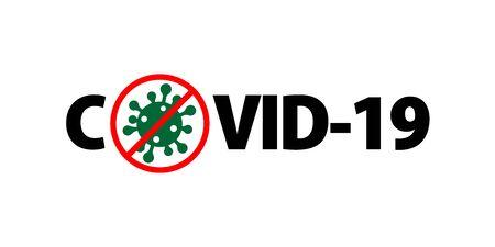 Coronavirus 2019-nCoV. Corona virus icon. Red sign isolated on white background. Stop pathogen respiratory infection. Design bacteria. Influenza pandemic Corona-virus prevention Vector illustration Vektoros illusztráció