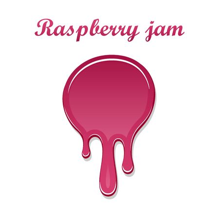 Raspberry drip jam 3D. Sweet raspberries splash isolated white background. Fruit strawberry candy splashing. Realistic syrup design. Jelly flow dessert. Berry sauce dripping liquid Vector illustration
