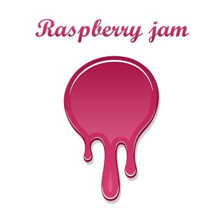 Raspberry drip jam 3D. Sweet raspberries splash isolated white background. Fruit strawberry candy splashing. Realistic syrup design. Jelly flow dessert. Berry sauce dripping liquid Vector illustration