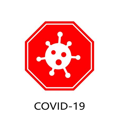 Coronavirus 2019-nCoV. Corona virus icon. Red sign isolated on white background. Stop pathogen respiratory infection. Design bacteria. Influenza pandemic Corona-virus prevention. Vector illustration