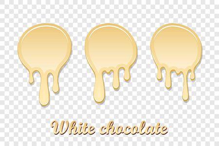 White chocolate drip splash set. Liquid blot isolated transparent background. Melt dessert spot. 3D realistic design stain element. Food decoration. Milk, dark chocolate splashing Vector illustration Illustration