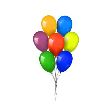 Ensemble de bouquet de ballons 3D, fil, fond blanc isolé. Ballon volant brillant de couleur, ruban, fête d'anniversaire, surprise. Cadeau ballon d'hélium. Forme réaliste, design joyeux anniversaire. Illustration vectorielle