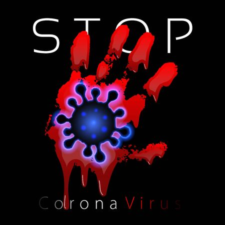 Coronavirus 2019-nCoV. Corona virus 3D icon. Blood hand sign isolated on black background. Pathogen respiratory infection. Design bacteria-cell. Influenza pandemic. Corona-virus Vector illustration