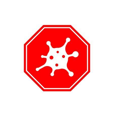 Coronavirus 2019-nCoV. Corona virus icon. Red sign isolated on white background. Stop pathogen respiratory infection. Design bacteria. Influenza pandemic Corona-virus prevention. Vector illustration