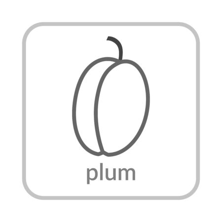 Plum icon. Gray outline flat sign, isolated white background. Symbol of health nutrition, eco food fruit. Contour linear shape. Sweet nutritious organic dessert. Cartoon design Vector illustration