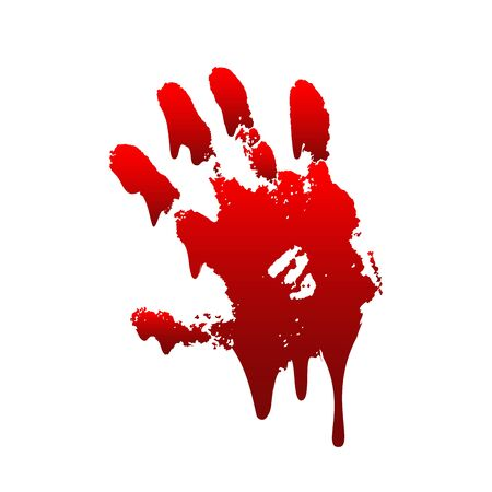 Bloody hand print 3D isolated white background. Horror scary drip blood dirty handprint, fingerprint. Red palm, fingers, stain, splatter, streams. Symbol horror murder, violence Vector illustration Illustration