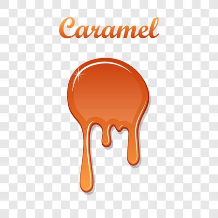 Caramel drop 3D. Realistic caramel melted sauce. Flow liquid isolated white transparent background. Splash orange toffee candy. Delicious snack food. Sweet cream. Melt smooth syrup Vector illustration Ilustracja