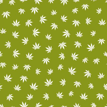 Cannabis seamless pattern. Marijuana leaf, white weed plant. Hashish texture, isolated green background. Hemp psychedelic grass. Fabric print for medical wallpaper. Simple design. Vector illustration