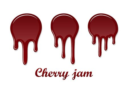 Red cherry drip confiture 3D set. Berry sweet jam spot isolated white background. Drips flowing down stain. Drop realistic design. Syrup of strawberry melted sauce. Tomato splash. Vector illustration