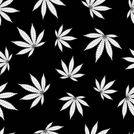 Cannabis seamless pattern. Marijuana leaf, white weed plant. Hashish texture, isolated black background. Hemp psychedelic grass. Fabric print for medical wallpaper. Simple design. Vector illustration Stock Illustratie