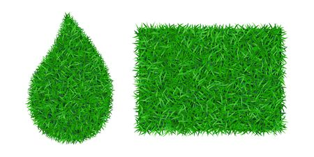 Green grass background 3D set. Lawn greenery nature drop, frame isolated on white. Field texture square rectangle, droplet. Landscape grassland pattern. Grassy design. Grow meadow Vector illustration