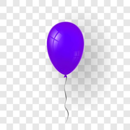 Purple balloon 3D, thread, isolated white transparent background. Color glossy flying baloon, ribbon, birthday celebrate, surprise. Helium ballon gift. Realistic design happy bday. Vector illustration Stock Illustratie