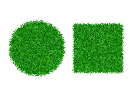Green grass background 3D set. Lawn greenery nature ball. Abstract soccer field texture circle, square. Ground landscape grassland pattern. Grassy design. Beautiful grow meadow Vector illustration Stock Illustratie