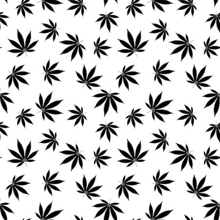 Cannabis seamless pattern. Marijuana leaf, black weed plant. Hashish texture, isolated white background. Hemp psychedelic grass. Fabric print for medical wallpaper. Simple design. Vector illustration Stock Illustratie