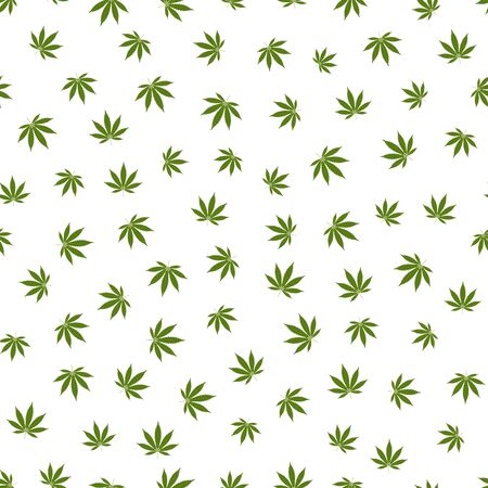 Cannabis seamless pattern. Marijuana leaf, green weed plant. Hashish texture, isolated white background. Hemp psychedelic grass. Fabric print for medical wallpaper. Simple design. Vector illustration