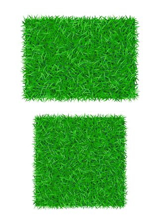 Green grass background 3D set isolated. Lawn greenery nature field. Abstract soccer texture frame, square, rectangle. Ground landscape pattern Grassy design. Beautiful grow meadow Vector illustration