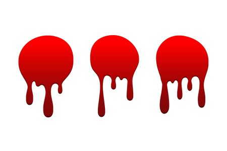 Blood drip set. Drop blood isloated white background. Happy Halloween decoration design. Red splatter stain splash spot, horror blot. Bleeding bloodstain scare texture. Liquid paint Vector illustraton Stock Illustratie
