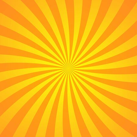 Sun rays background. Orange yellow radiate sun beam burst effect. Sunbeam light flash boom. Starburst poster. Sunlight star, sunrise glow burst. Solar radiance glare, retro design Vector illustration