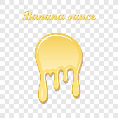 Banana sauce drip 3D. Sweet milk cream, splash drops, isolated white transparent background. Tropical fruit splashing. Realistic syrup design. Jelly drop dessert. Berry dripping Vector illustration