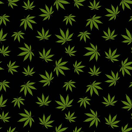 Cannabis seamless pattern. Marijuana leaf, green weed plant. Hashish texture, isolated black background. Hemp psychedelic grass. Fabric print for medical wallpaper. Simple design. Vector illustration