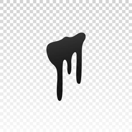 Drip paint. Ink stain. Drop melt liquid isolated on white transparent background. Splash of chocolate, oil, blood. Black splatter syrup, candy sauce, caramel. Color easy to edit Vector illustration Stock Illustratie
