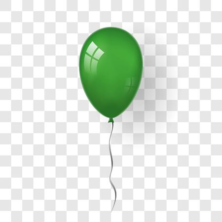 Green balloon 3D, thread, isolated white transparent background. Color glossy flying baloon, ribbon, birthday celebrate, surprise. Helium ballon gift. Realistic design happy bday. Vector illustration Stock Illustratie