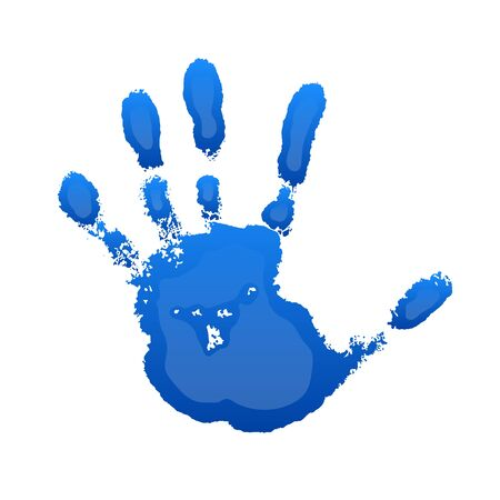 Hand print 3D isolated on white background. Blue paint human hands. Silhouette of child, kid, young people handprint. Stamp fingers and palm shape. Abstract design. Grunge texture Vector illustration