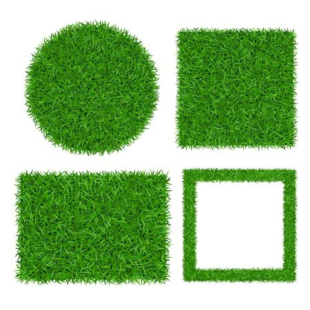 Green grass background 3D set isolated. Lawn greenery nature ball, square. Abstract soccer field texture circle, rectangle. Ground landscape grassland pattern. Grassy grow meadow Vector illustration