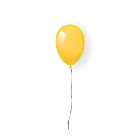 Yellow balloon 3D, thread, isolated white background. Color glossy flying baloon, ribbon for birthday celebrate, surprise. Helium ballon gift. Realistic shape, design happy bday. Vector illustration Stock Illustratie