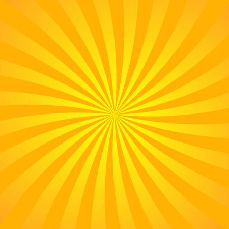 Orange yellow ray background. Vintage abstract texture. Retro starburst, sun beam. Halftone color. Light burst. Bright shine sunburst. Empty scrapbook surface. Clean nature energy Vector illustration Stock Illustratie