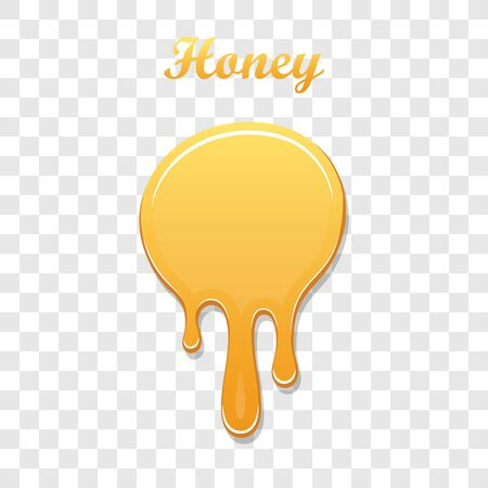 Drip honey syrup, isolated white transparent background. 3D liquid. Gold drop liquid design. Splash caramel product. Golden healthy sauce. Orange sweet food. Candy confectionery. Vector illustration Stock Illustratie