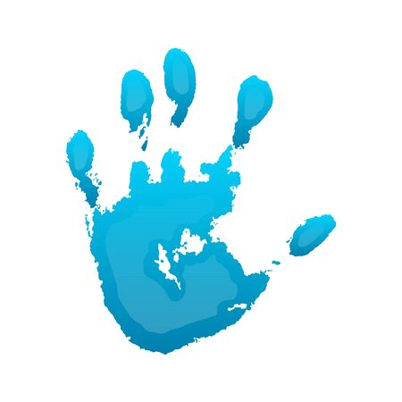 Hand paint print 3D, isolated white background. Blue human palm and fingers. Abstract art design, symbol identity people. Silhouette child, kid, people handprint. Grunge texture Vector illustration Stock Illustratie
