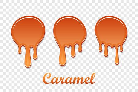 Caramel drop 3D set. Realistic caramel melted sauce. Flow liquid isolated white transparent background. Splash orange toffee candy. Delicious food. Sweet cream. Melt smooth syrup Vector illustration
