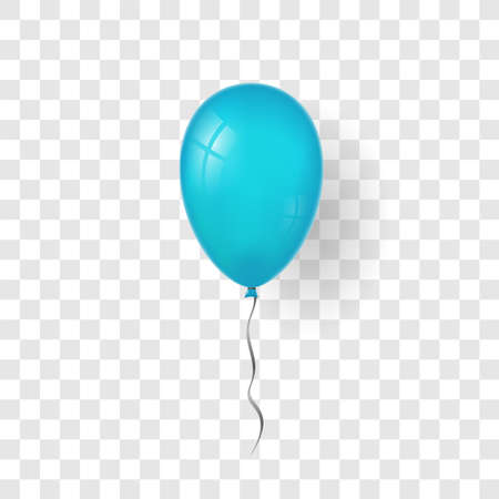 Blue balloon 3D, thread, isolated white transparent background. Color glossy flying baloon, ribbon, birthday celebrate, surprise. Helium ballon gift. Realistic design happy bday. Vector illustration