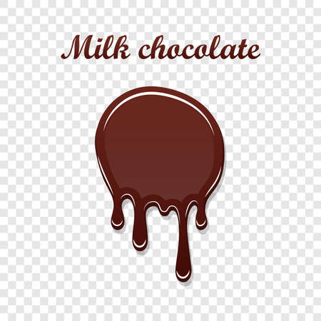 Chocolate drip splash. Liquid blot isolated white transparent background. Melt dessert spot. 3D realistic design stain element. Food decoration. Milk, dark chocolate splashing Vector illustration