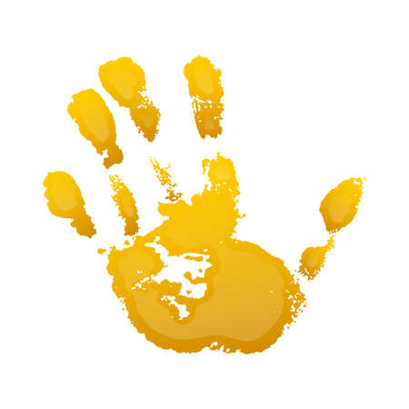 Hand paint print 3D, isolated white background. Yellow human palm and fingers. Abstract art design, symbol identity people. Silhouette child, kid, people handprint. Grunge texture Vector illustration
