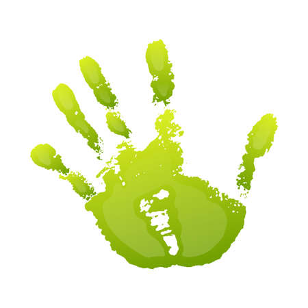 Hand paint print 3D, isolated white background. Green human palm and fingers. Abstract art design, symbol identity people. Silhouette child, kid, people handprint. Grunge texture Vector illustration