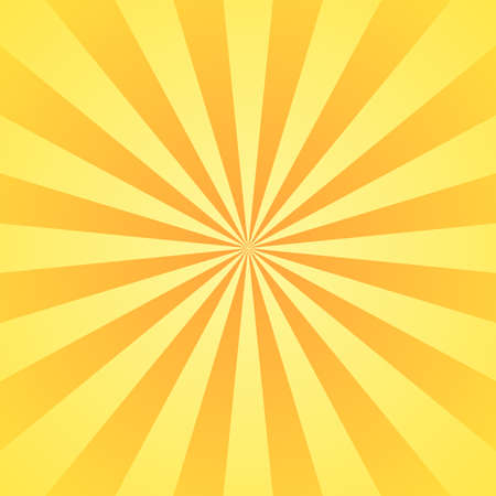 Sun rays background. Yellow orange radiate sun beam, burst effect. Sunbeam light flash boom. Template poster sale. Sunlight star, sunrise glow burst. Solar radiance, retro design Vector illustration
