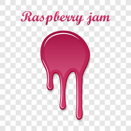 Red raspberry drip confiture 3D. Berry sweet jam spot isolated white transparent background. Drips flowing down stain. Drop realistic design. Syrup strawberry melted sauce splash. Vector illustration