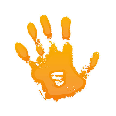 Hand paint print 3D, isolated white background. Orange human palm and fingers. Abstract art design, symbol identity people. Silhouette child, kid, people handprint. Grunge texture. Vector illustration Illustration