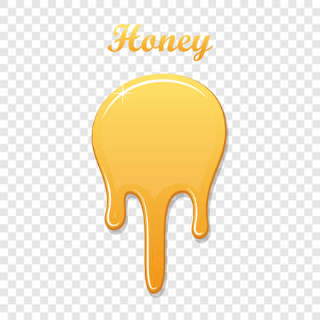 Drip honey syrup, isolated white transparent background. 3D liquid. Gold drop liquid design. Splash caramel product. Golden healthy sauce. Orange sweet food. Candy confectionery Vector illustration