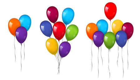 Balloons 3D bunch set, thread, isolated white background. Color glossy flying baloon, ribbon, birthday celebrate, surprise. Helium ballon gift. Realistic shape, design happy bday Vector illustration