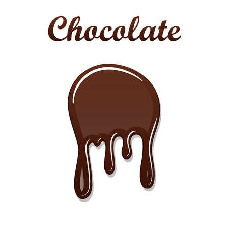 Chocolate drip splash. Chocolate liquid blot isolated white background. Shape melt dessert spot. 3D realistic design stain element. Food decoration. Milk, dark chocolate splashing. Vector illustration Illustration