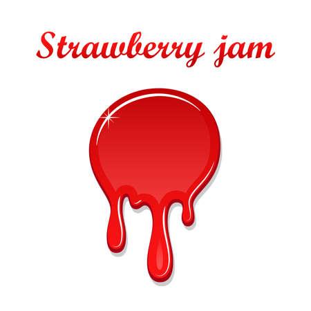 Raspberry drip jam 3D. Sweet raspberries splash isolated white background. Fruit strawberry candy splashing. Realistic syrup design. Jelly drop dessert Berry sauce dripping liquid Vector illustration