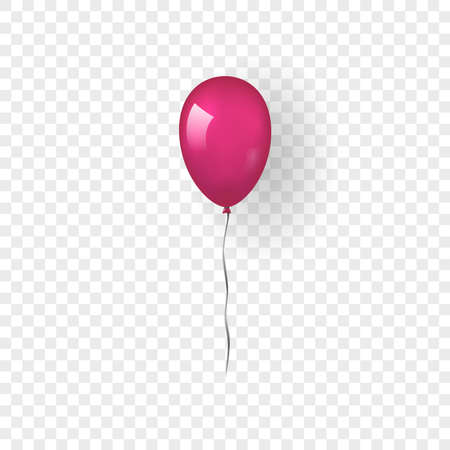Pink balloon 3D, thread, isolated white transparent background. Color glossy flying baloon, ribbon, birthday celebrate, surprise. Helium ballon gift. Realistic design happy bday Vector illustration