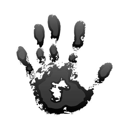 Hand paint print 3D, isolated white background. Black human palm and fingers. Abstract art design, symbol identity people. Silhouette child, kid, people handprint. Grunge texture. Vector illustration