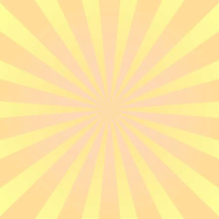 Sun rays background. Yellow orange radiate sun beam, burst effect. Sunbeam light flash boom. Template poster sale. Sunlight star, sunrise burst. Solar radiance glare, retro design. Vector illustration